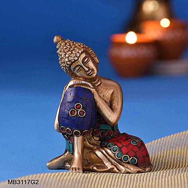 Resting Buddha Brass Idol