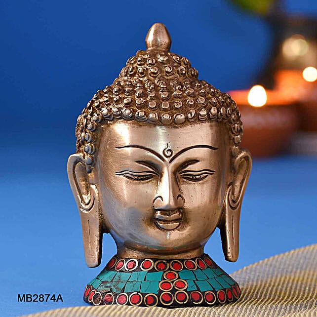 Stone Work Buddha Head Idol