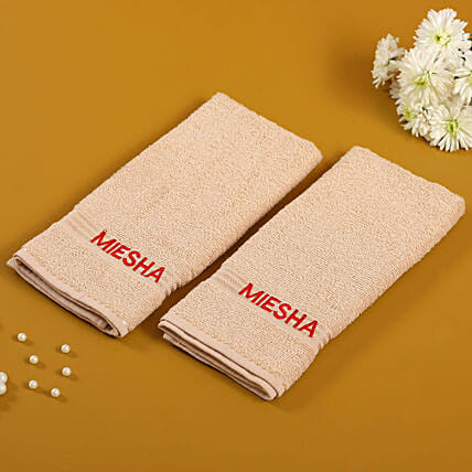 Personalised Camel Colour Cotton Towel Pack Of 2