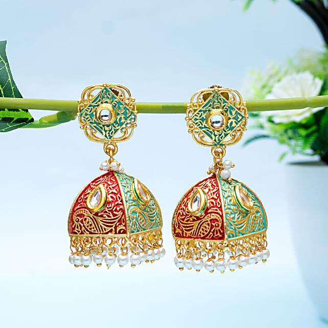Gold Toned Triangular Stud Earrings