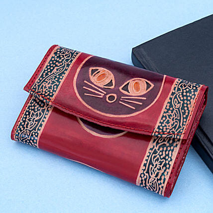 Hand Painted Women s Leather Wallet Burgundy:Handbags and Wallets Gifts