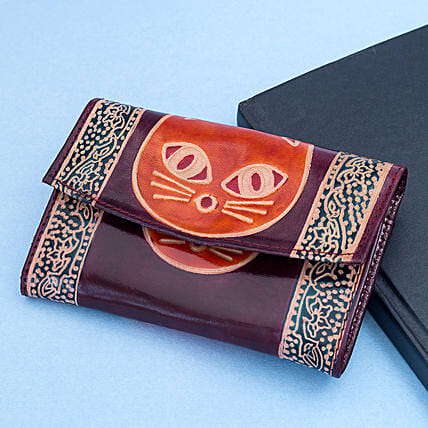 Hand Painted Women s Leather Wallet Violet