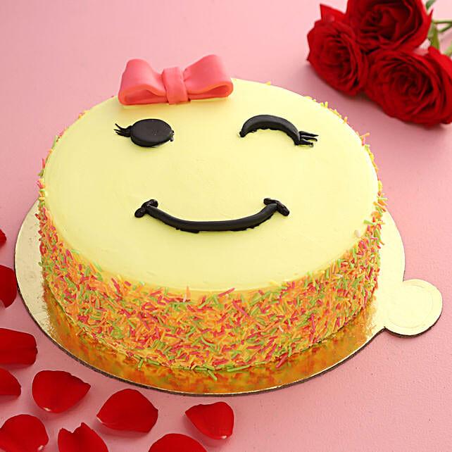 Cute Winking Emoji Butter Scotch Cake