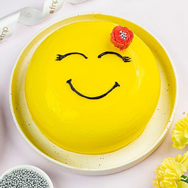 Happy Emoji Pineapple Cake:Happy Friendship Day Gift
