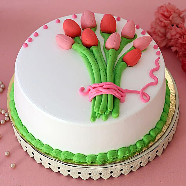 Beautiful Tulips Bunch Pineapple Cake:Karwa Chauth Gifts For Saas