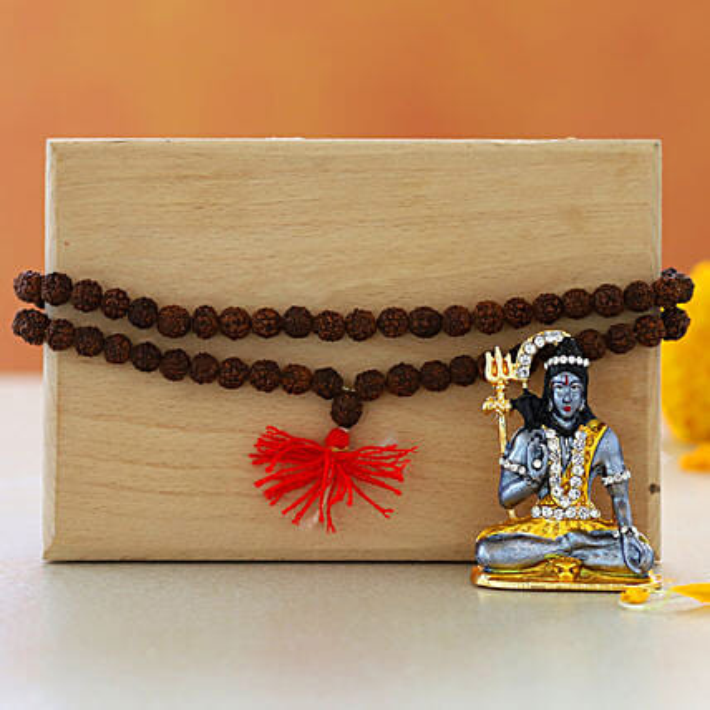 Lord Shiva Idol Rudraksha Mala