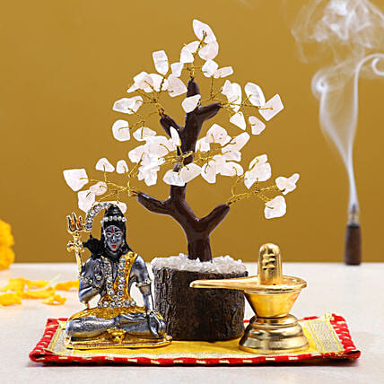Maha Shivaratri Puja Items Rose Quartz Wish Tree:Shivratri Gifts