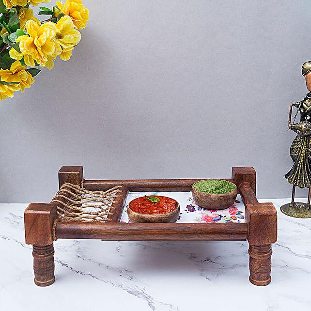 Handmade Khaat Platter With Jute Thread Weaving