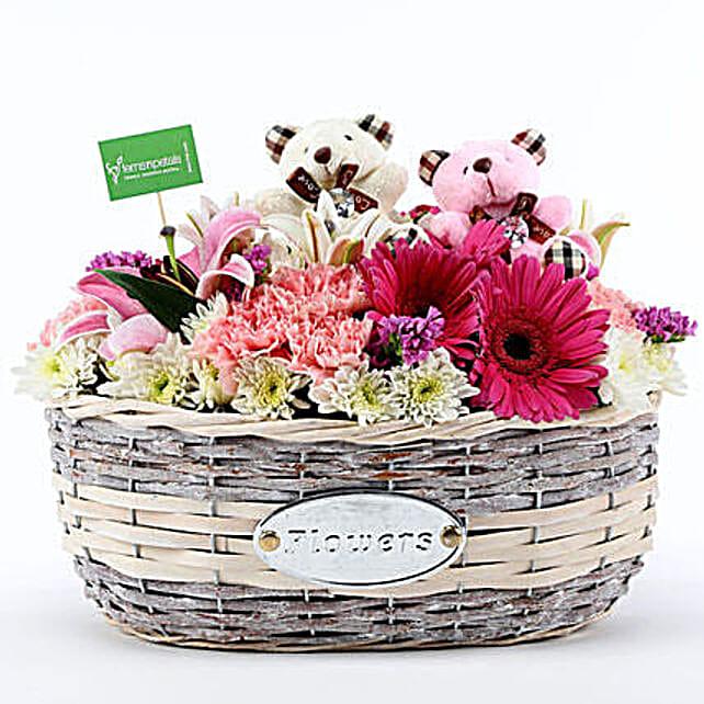 Stylish Flower Arrangment Online:Send Thank You Soft toys