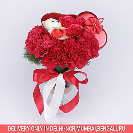 Online Red Carnations Arrangements:Soft toys Delivery for Bhai Dooj