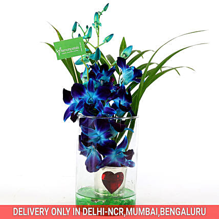 Online Hearty Orchid Vase Arrangement:Exotic Flower Bouquet