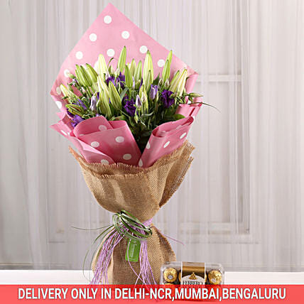 flower bouquet with chocolate