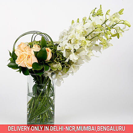 lovely orchid and roses with vase arrangement:Premium Gifts for Anniversary