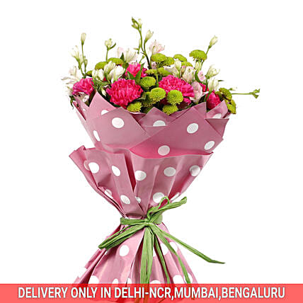 Flower Bouquet with Polka dot Wrap