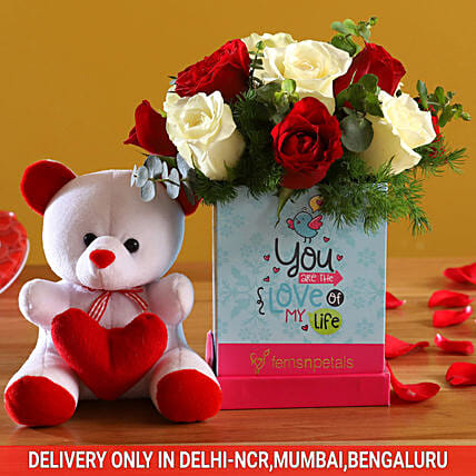 Red & White Roses For Love & Cute Teddy:Soft toys for Promise Day