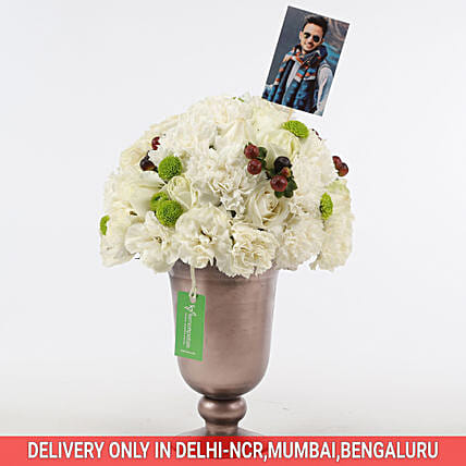 white roses n carnation arrangement for her online