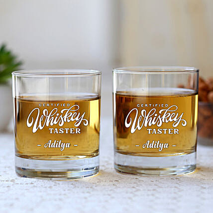 Personalised Whiskey Glass Set Of 2:Bar Accessories