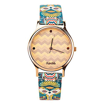 Ornate Illusion Wrist Watch With Printed Strap