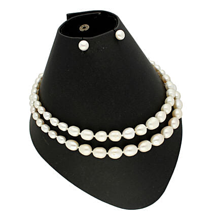 2 Lines Oval Pearl Necklace:Jagdamba Pearls-jewellery