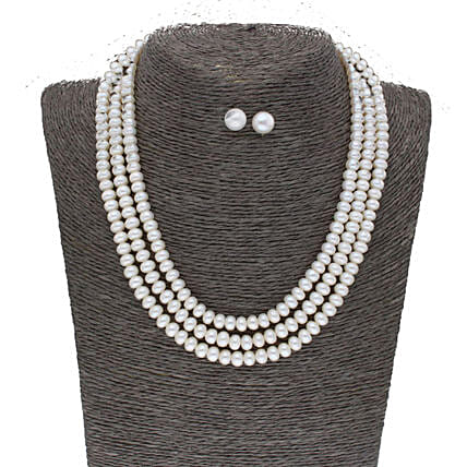 3 Line Plain Button Pearl Set:Jagdamba Pearls-jewellery