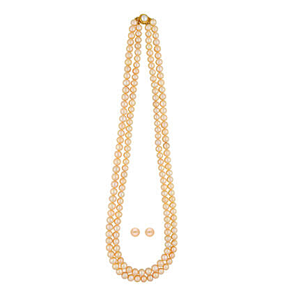 3 Lines Peach Pearls Necklace