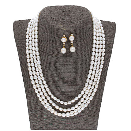 4 Line Oval White Pearl Set