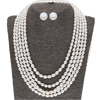 5 Line Plain Oval Pearl Set:Jagdamba Pearls-jewellery