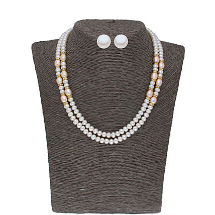 Beautiful 2 Line Oval Pearl Set:Jagdamba Pearls-jewellery