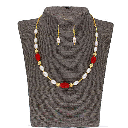 Single Line Siddhi Pearl Set:Jagdamba Pearls-jewellery
