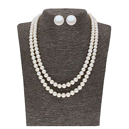 2 Line 5 6MM Round Pearl Set:Jagdamba Pearls-jewellery