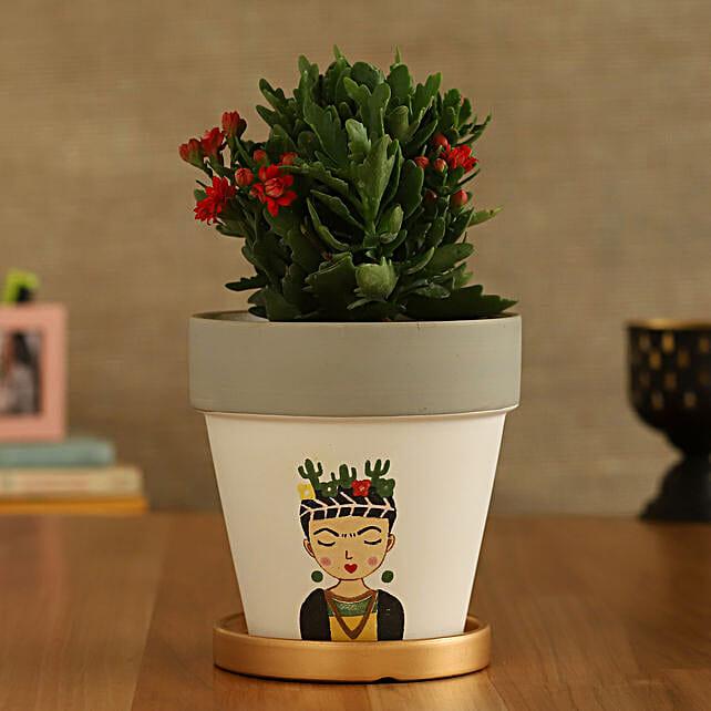Kalanchoe Plant In Girl Printed Golden Plate Pot:Folk Art Planters