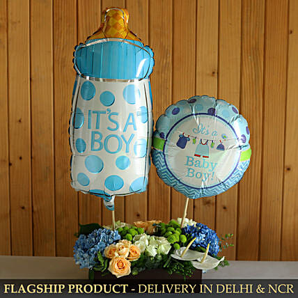 It s A Baby Boy Balloon And Mixed Flowers Arrangement