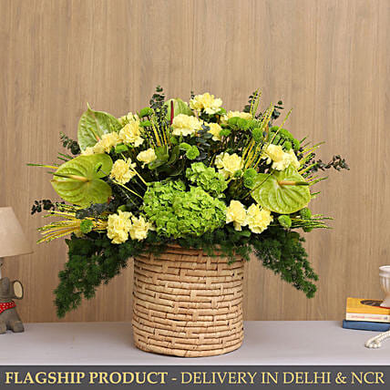 Elegant Mixed Flowers In Textured Cane Basket