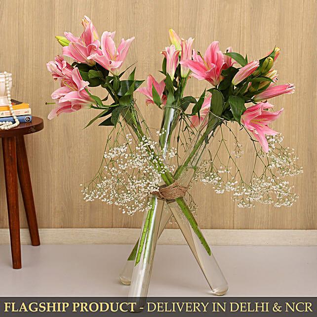 Oriental Lilies Test Tube Arrangement