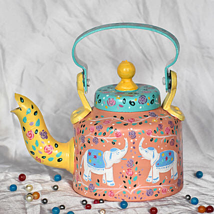 Elephants And Floral Motifs Handpainted Kettle:Handicrafts to Mumbai