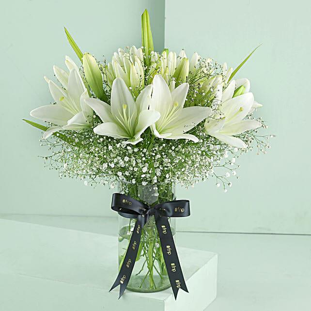 Blooming Asiatic Lilies In Black Ribbon Tied Vase