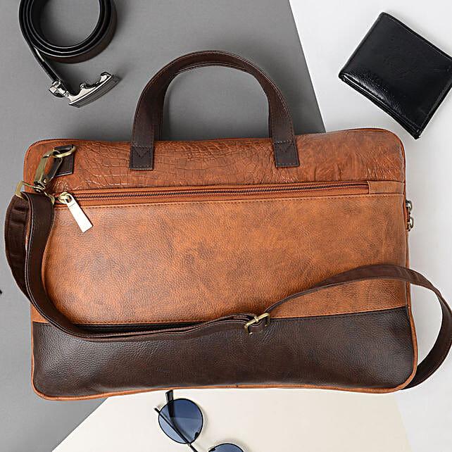 Vivinkaa Tan And Coffee Leather Unisex Laptop Bag