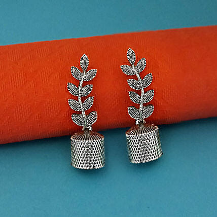 Leaf Motif Oxidised Jhumki Earrings