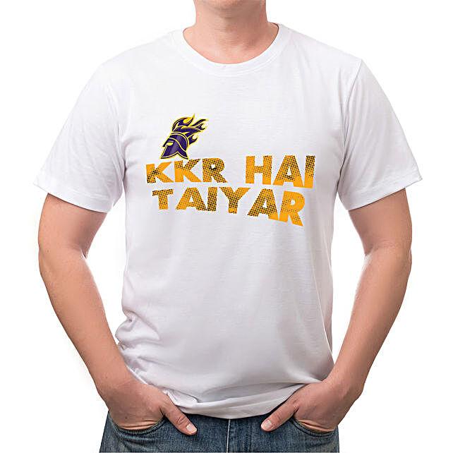 Personalised KKR Hai Taiyar White T Shirt