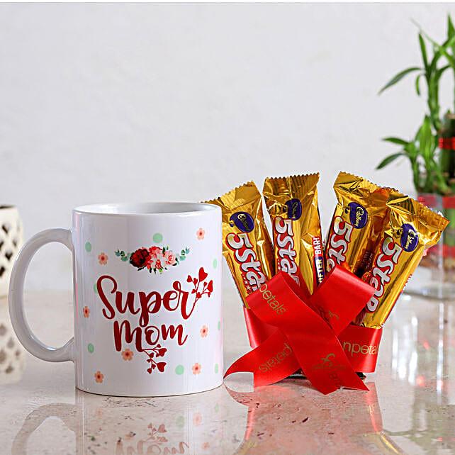 Super Mom Mug And Cadbury 5 Star Chocolates:Mothers Day Chocolate Combos