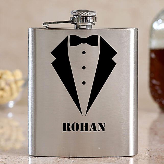 Gentlemen Personalised Silver Hip Flask