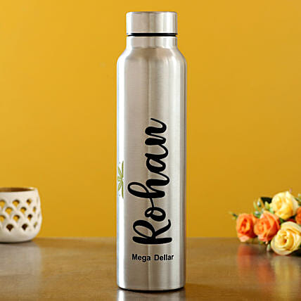 Personalised Stainless Steel Silver Bottle