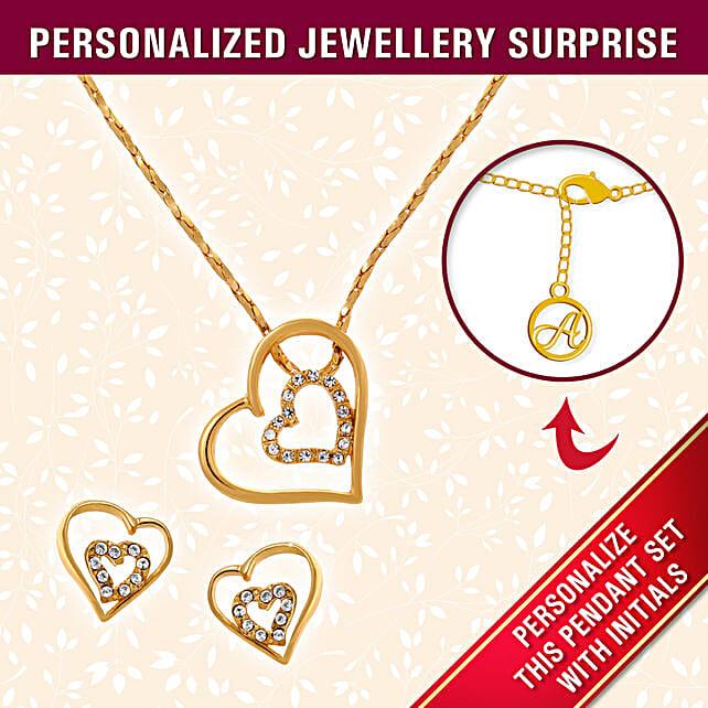 Personalised Heart Gold Pendant Set
