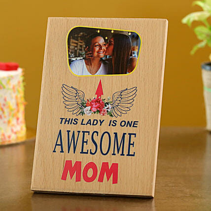 Personalised Awesome Mom Wooden Plaque