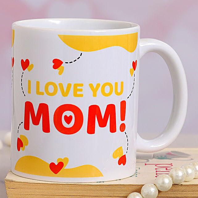 I love U Mom Heart Print Mug:Mothers Day Gifts Mall