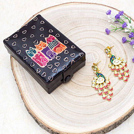 Mothers Day Peacock Earrings And Owl Print Jewellery Box