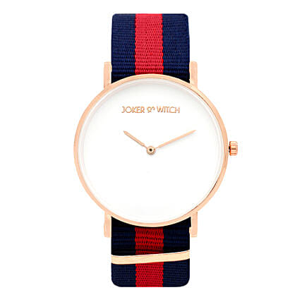 Online Classic Blue Red Strap Watch:Watches for Her