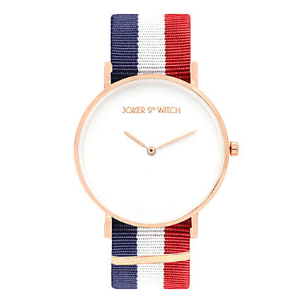 Online Classic Blue White Red Strap Watch