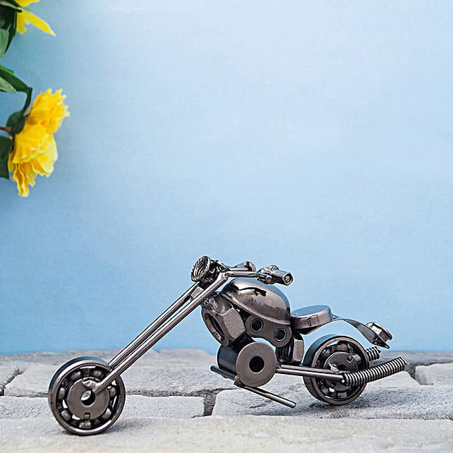Black Toned Vintage Metal Motor Bike Showpiece