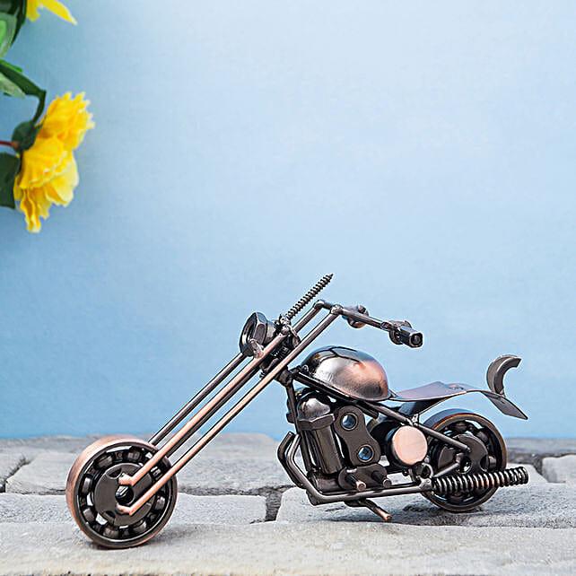 Copper Toned Decorative Metal Motor Bike Showpiece